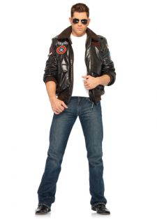 Gun Mens Faux Leather Bomber Jacket Aviators Costume Adult New