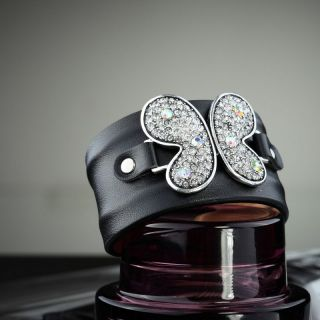 Dark Blue Leather Grey Rhinestone Butterfly Cuff Bracelet