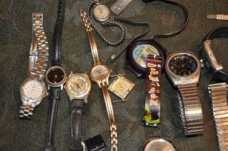 Vintage Watches Parts Bands Scrap Craft Swatch Walthem Le Claire Etc