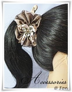 Beautiful Banana Clip Ponytail Hair Holder Bow Ribbon Brown Cream Sexy