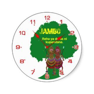 Africa hello Jambo clock face Round Sticker