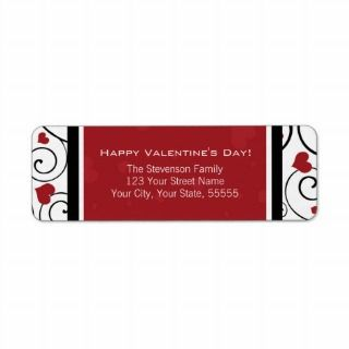 Happy Valenines Day Reurn Address Labels Red labels by