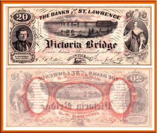 1857 20 Banks of the St. Lawrence Victoria Bridge Montreal Advertising
