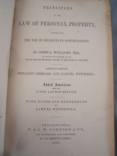 Antique 1866 Leather Law Book Law of Personal Property
