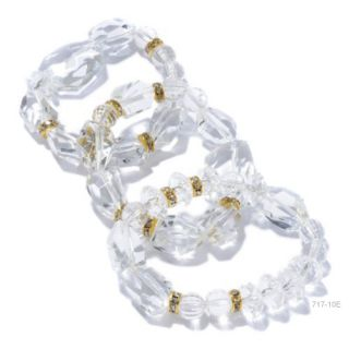 Lee Angel 3 PC Clear Crystal 6 Large Bead Gold Tone Ronudel Bracelet