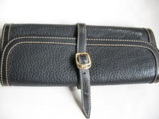Gucci Italian Black Leather Travel Jewelry Roll Up Case Pouch