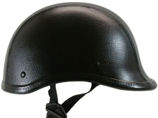 Black Leather Low Profile POLO Style Motorcycle Novelty Airsoft Helmet