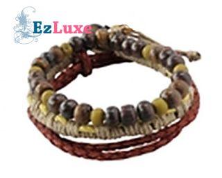Beckham Surfer Braided Hemp Leather Bead 3 Bracelet Set