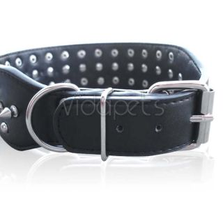 19 22 Black Leather Spiked Dog Collar Large Spikes
