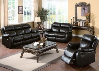 Casual Black Leather Sofa Loveseat Recliners 2 PC Living Room Set