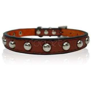 14 17 Brown Leather Studded Dog Collar Medium