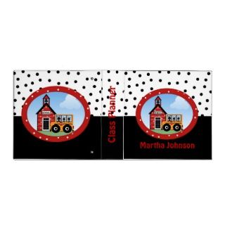 School House and Bus Teachers Class Planner Vinyl Binders