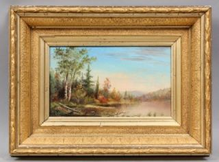 Musuem Quality Hudson River School Fall Sunset Signed Gold Leaf Frame