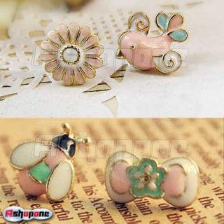 Flower Birdie Bird Ladybug Ladybird Beetle Bow Bowknot Stud Earrings