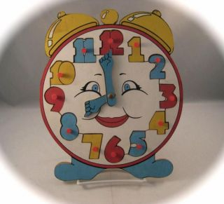 Wooden Wood Happy Face Tell The Time Alarm Clock Puzzle Child
