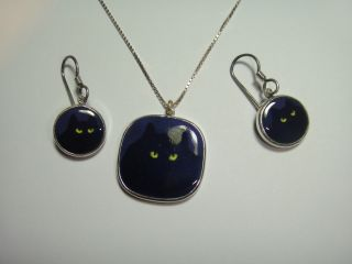 VINTAGE VICTOR LEE ENAMEL EARRINGS & NECKLACE PENDANT STERLING SILVER