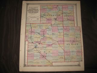 WINNEBAGO BOONE OGLE LEE DEKALB COUNTY ILLINOIS MAP ROCKFORD DIXON