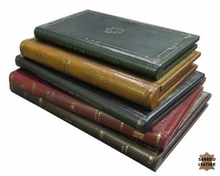 Thin Antique Leather Bound Book Boxes Hinged Gold Leafed New Free