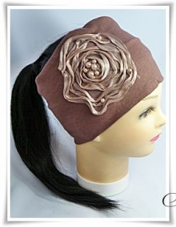 Beautiful Headband Big Flower Dark Peach Fabric Elastic 2