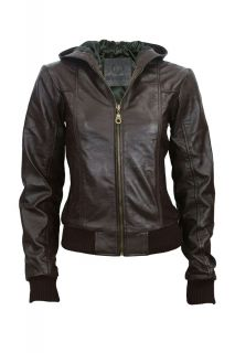 Chestnut Brown Womens Leather Hooded Hood Bomber Jacket