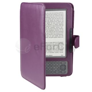 Purple PU Leather Skin Case Cover Wallet Pouch for  Kindle 3 3G