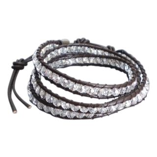 Clear Muse Crystal Tribal Wrap Leather Bracelet