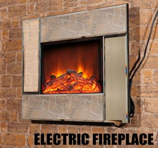 New 26 Wall Mounted Electric Fireplace LED Fire Lamp Heater Mirror