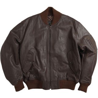 Alpha Industries MA 1 Leather Flight Jacket Brown s M L XL 2XL 3XL 4XL
