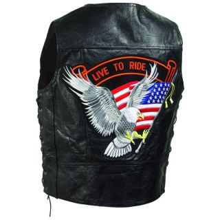 Black Leather Biker Motorcycle Vest Live to Ride Embroidered Patch