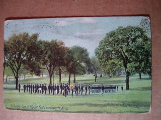 INFANTRY GUARD MOUNT Fort Leavenworth Kansas Postcard KS Army z089