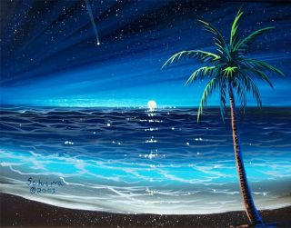 New Schira Signed Print Ocean Moon Stars Paintings Art Work Seascape
