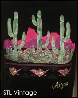 Vtg 80s 90s Rad Awesome Puffy Graphic Logo Arizona T Shirt Road Runner