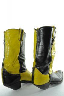 VINTAGE   Tony Lama   2 Tone Leather   Cowboy Boots   Mens 8 (D)
