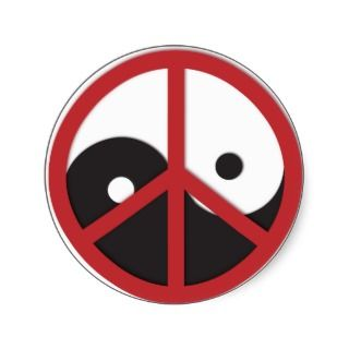 Yin Yang with Peace sign   red Round Stickers