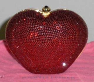 Judith Leiber Red Heart Limited Edition Swarovski Crystal Clutch Purse