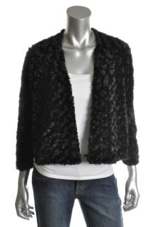 Sunny Leigh New Black Faux Fur 3 4 Sleeve Open Front Cardigan Sweater