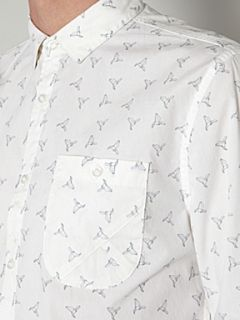 Linea Origami bird print long sleeved shirt White