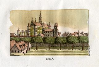Antique Print Leiden Netherlands View Church Carr 1820