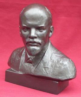 10 27cm Lenin Old Bust Big Soviet Russian CCCP Cast Statue 1968