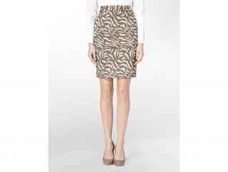 Calvin Klein Animal Print Jacquard Pencil Skirt Womens