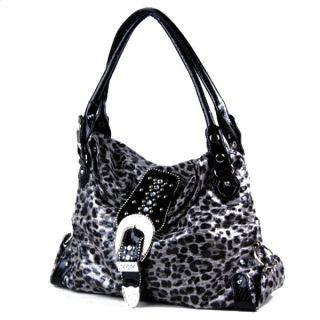 Animal Print Cheetah Pattern Rhinestone Belted Hobo Handbag Purse New