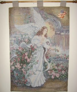 Lena Liu Angel of Love Jacquard Woven Tapestry Wall Hanging Rod Made