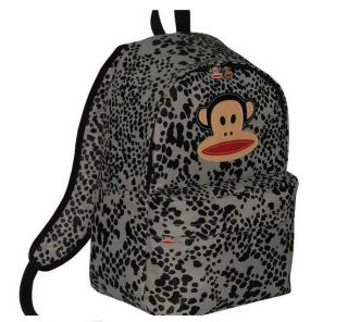 Paul Frank Grey Leopard Print Backpack Rucksack School Bag New with