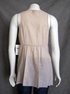 Leifsdottir Anthropologie Designer Sheer Tan Cotton Shirt BlouseTop