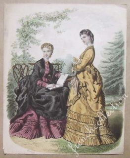 Antique French Fashion Plate Anais Toudouze Orig C1870