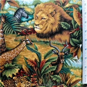 Half Yard Springs Out of Africa Jungle Giraffe Lion Zebra Elephant