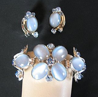 Vintage Ice Blue Glass Moon Stone Bracelet Earrings