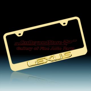 Lexus 3D Gold Finish Stainless Steel License Plate Frame, Lifetime