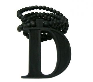 Black Carved Letter D Initial Wood Wooden Pendant Beaded Necklace Hip