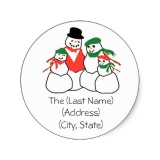 Christmas Holiday Address Label Snowmen Family Sticker